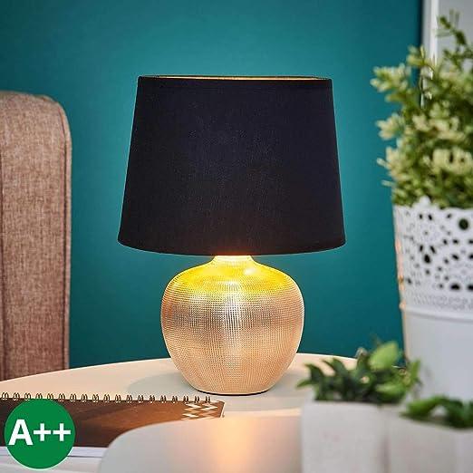 Lampe à poser \'Thorina\' (Moderne) en Noir en Textile ea pour Salon & Salle  à manger (1 lampe,à E14, A++) de LINDBY | Lampe à poser