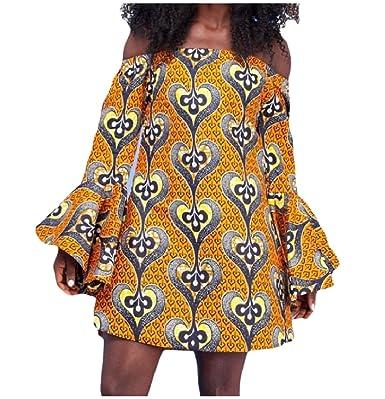 79f3077bac2d Vivi-Women All-Match African Dashiki Trumpet Sleeve Off Shoulder Pencil  Dress X-