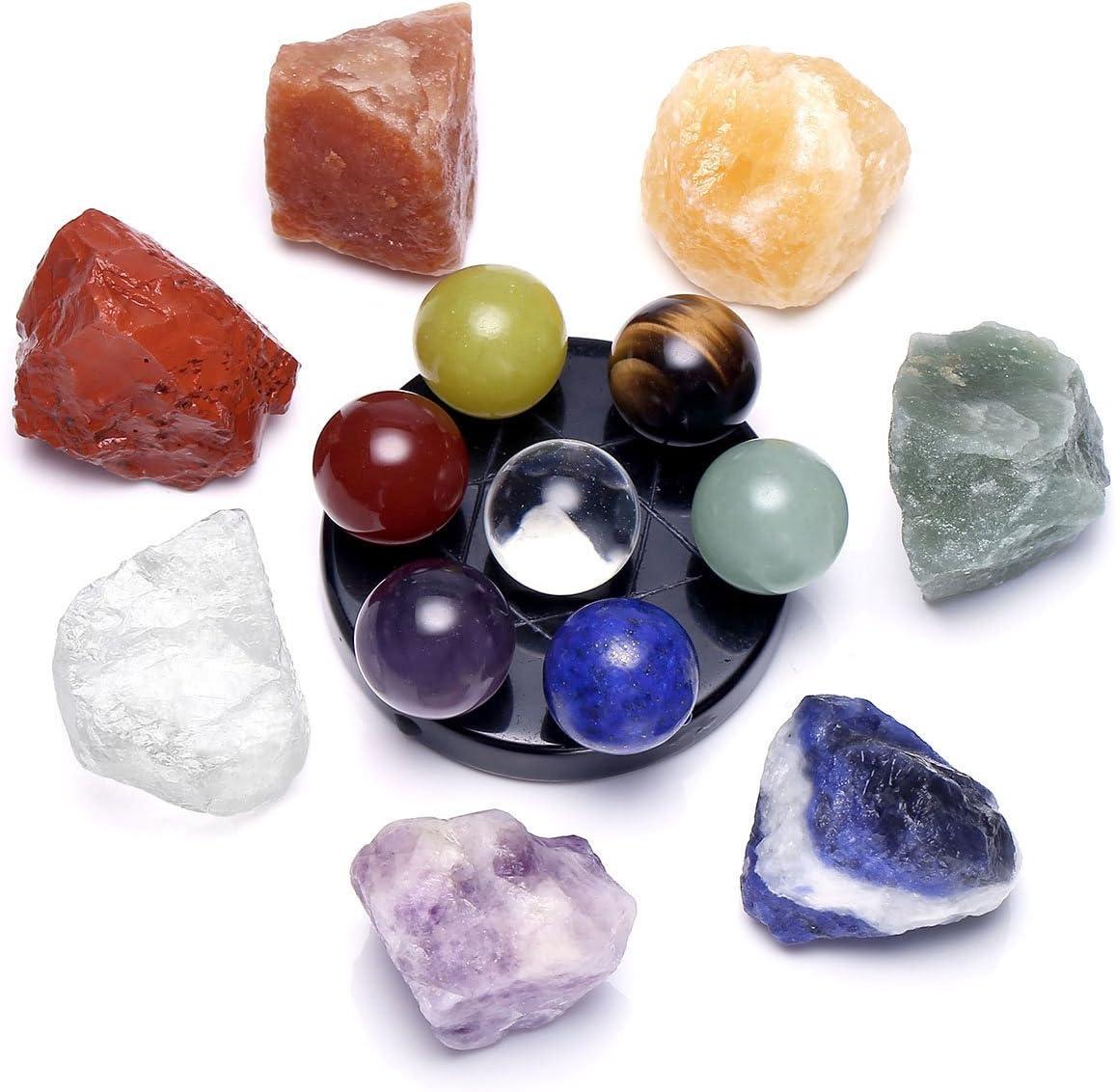 qgem 7Chakra Piedras preciosas Deko Feng Shui Reiki piedras curativas Energía Terapia Yoga piedras Decoración Set verschi edener Juego Seleccionar