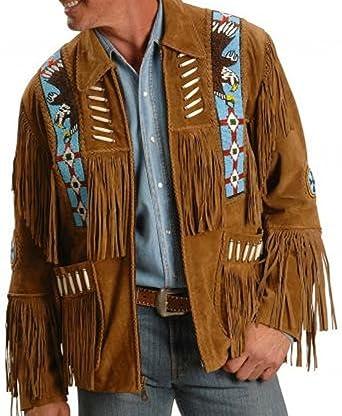 Blouson de Cowboy en Daim véritable pour Homme Marron