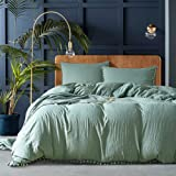 AiMay Pom Poms 3 Piece Duvet Cover Set (1 Duvet Cover + 2 Pillowcases) Stone-Washed Brushed Luxury 100% Super Soft…