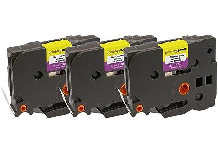 3 Compatibles TZe-231 TZ-231 12 mm x 8 m Negro sobre Blanco Cintas ...