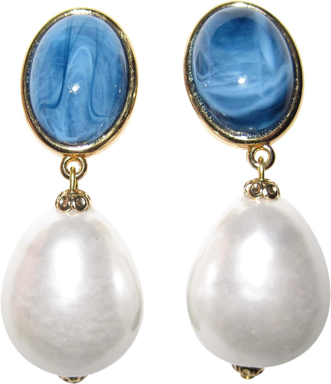 Pendientes de clip, de color azul y blanco, muy ligeros, dorados, con piedras azules y marmoleadas, con colgante de perla blanca y gota