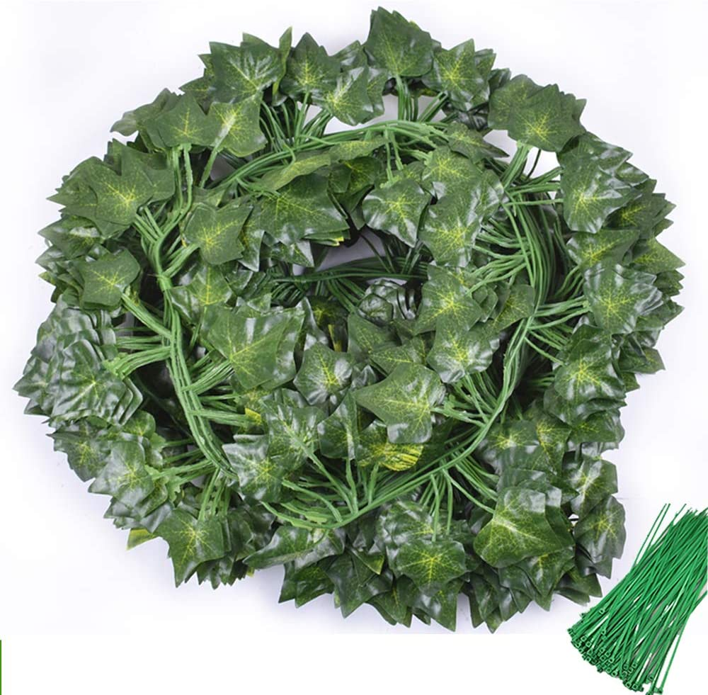 Acrice 12 Pack 90.5 ft Artificial Ivy Leaves, Ivy Garland, Fake Plants for Greenery Decor, Office Wedding Wall Decor, Garland Decor, Bedroom Hanging Plants (Style 2: 81pcs Leaves)