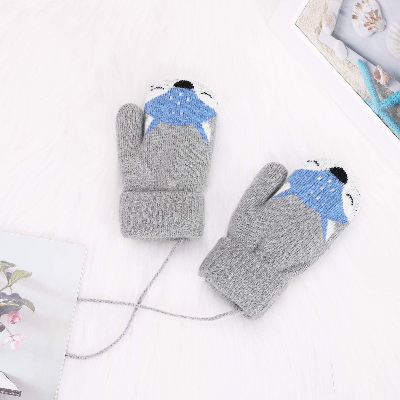 Qchomee Fausthandschuhe F/äustlinge Kinderhandschuhe Cartoon Fuchs Strickhandschuhe Baby Handschuhe Outdoor Pl/üschfutter Wollhandschuhe Winter Winterhandschuhe Warm Handw/ärmer f/ür Kinder M/ädchen
