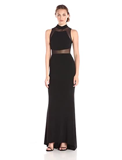 Amazoncom Betsy Adam Womens High Neck Illusion Gown Clothing