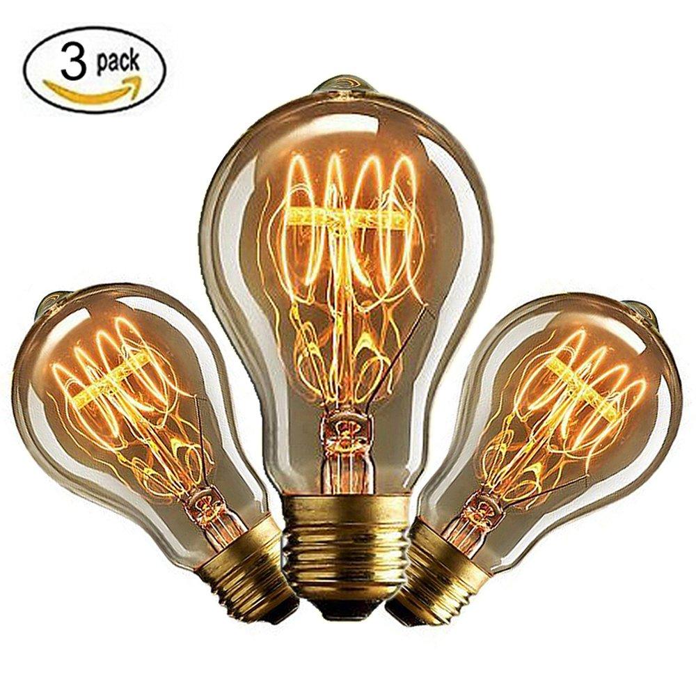 CMYK Antike Edison Vintage MasterGlobe Glü hbirne (40W, E27, 220-240V) Ideal fü r Nostalgie und Retro Beleuchtung-3 Stü cke