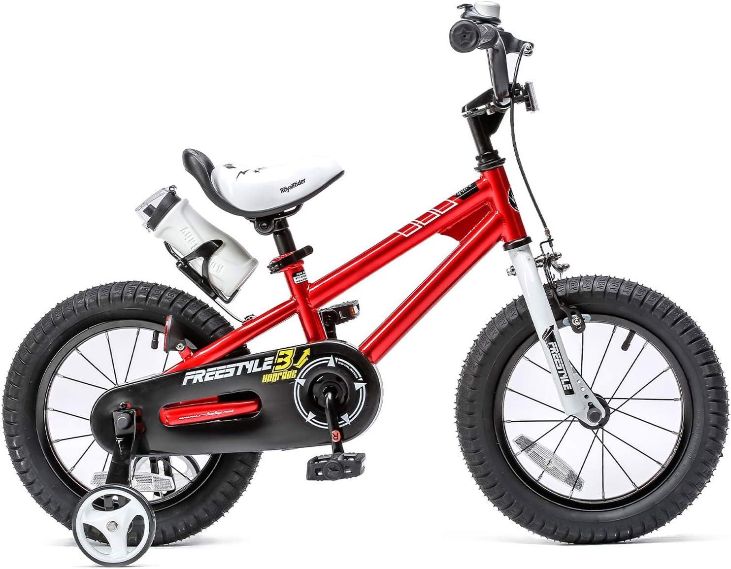 RoyalBaby Kids Bike Boys Girls Freestyle Bicycle 12 14 16 inch with Training Wheels,16 18 20 inch with Kickstand Childs Bike Blue Red Orange Green Pink White Fuchsia
