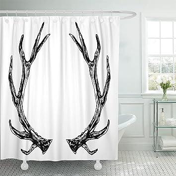 Emvency Shower Curtain Black Elk Reindeer Antlers Ink White Boho Grunge Rustic Style Prints And Buck