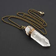 Clear Crystal Quartz Point Antique Bronze Unisex Pendant Necklace 24 Inches