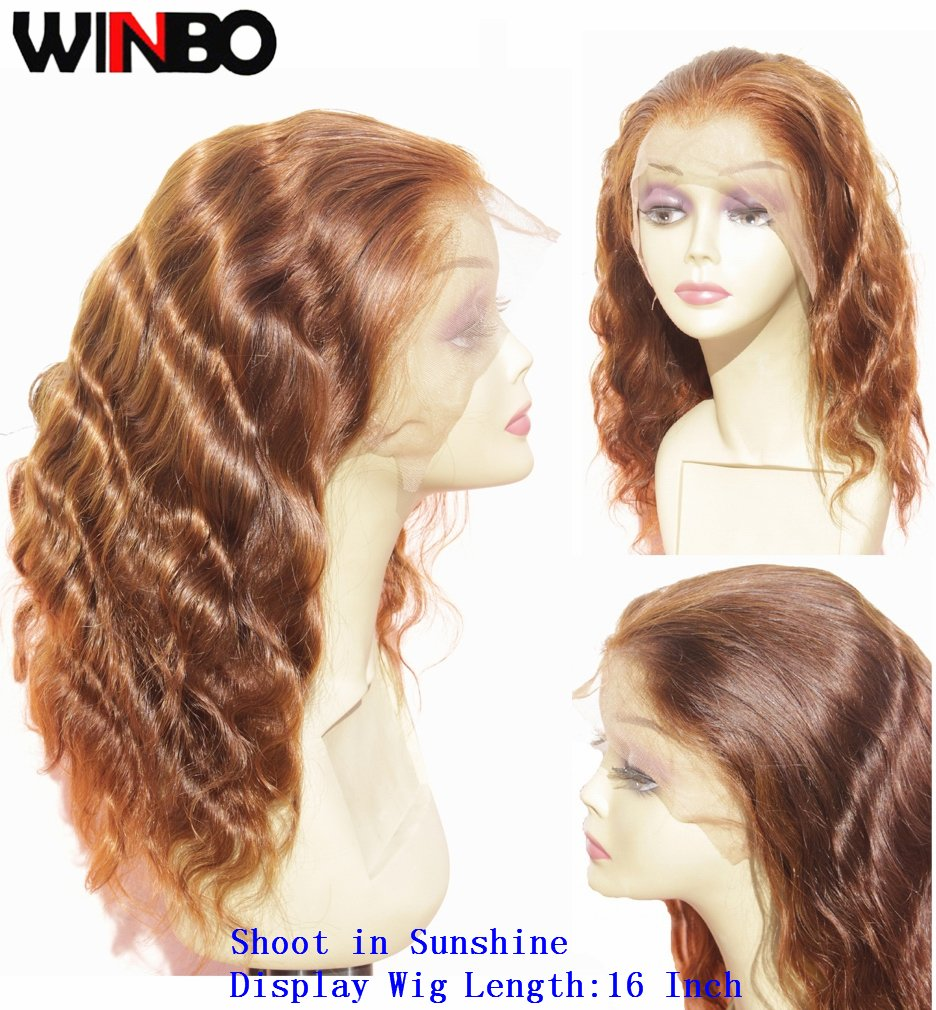WINBO Chocolate Brown Body Wave Full Lace Front Wig 8A Brzilian Human Hair 150 Density Lace Wig Baby Hair (16 INCH, FULL LACE WIG)