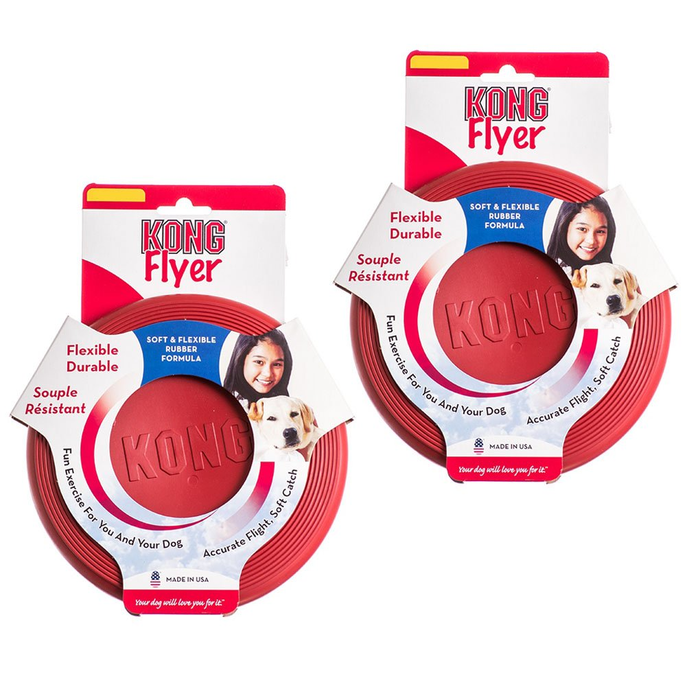 Kong Rubber Flyer, 2-Pack Small, Red by KONG