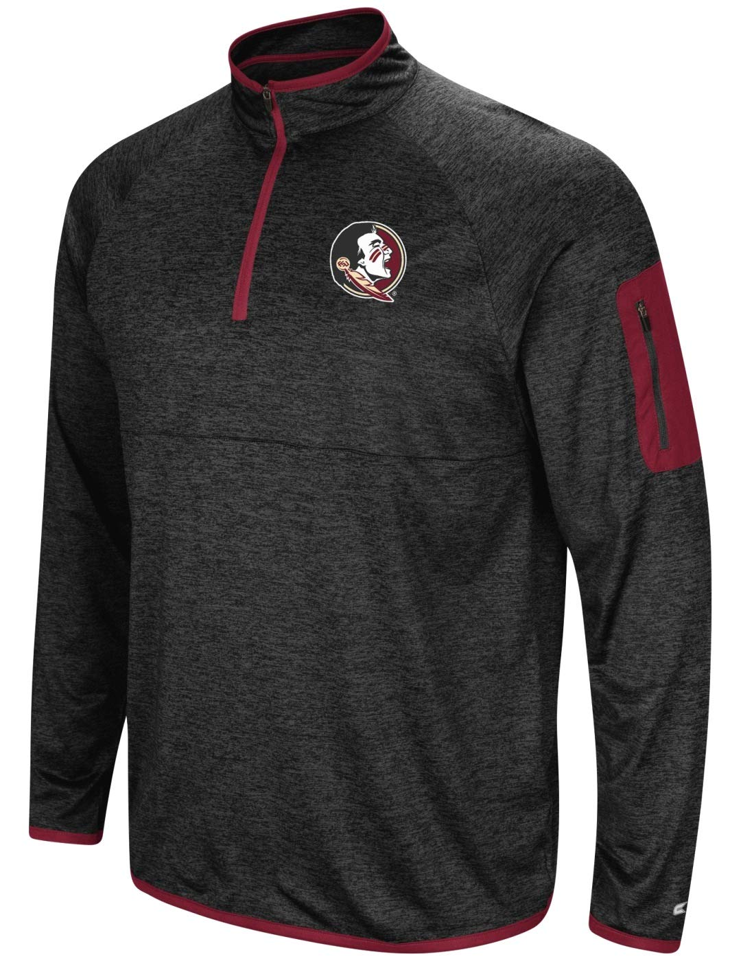 Colosseum Florida State Seminoles NCAA Screen Pass Mens 1//4 Zip Poly Slub Jacket
