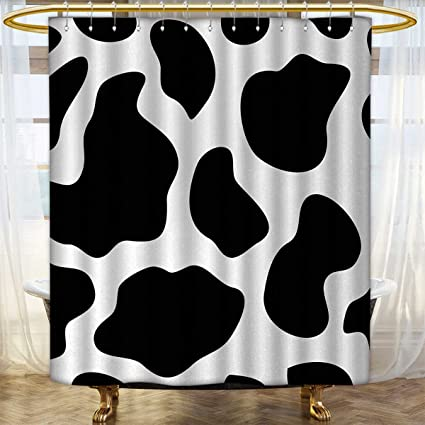 Anhounine Cow Print Shower Curtains 3D Digital Printing Hide Of A With Black Spots Abstract