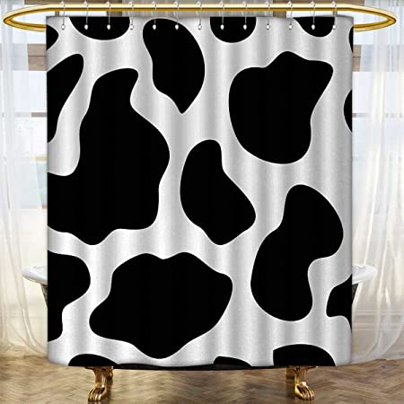Anhounine Cow Print Shower Curtains Waterproof Hide Of A With Black Spots Abstract And Plain