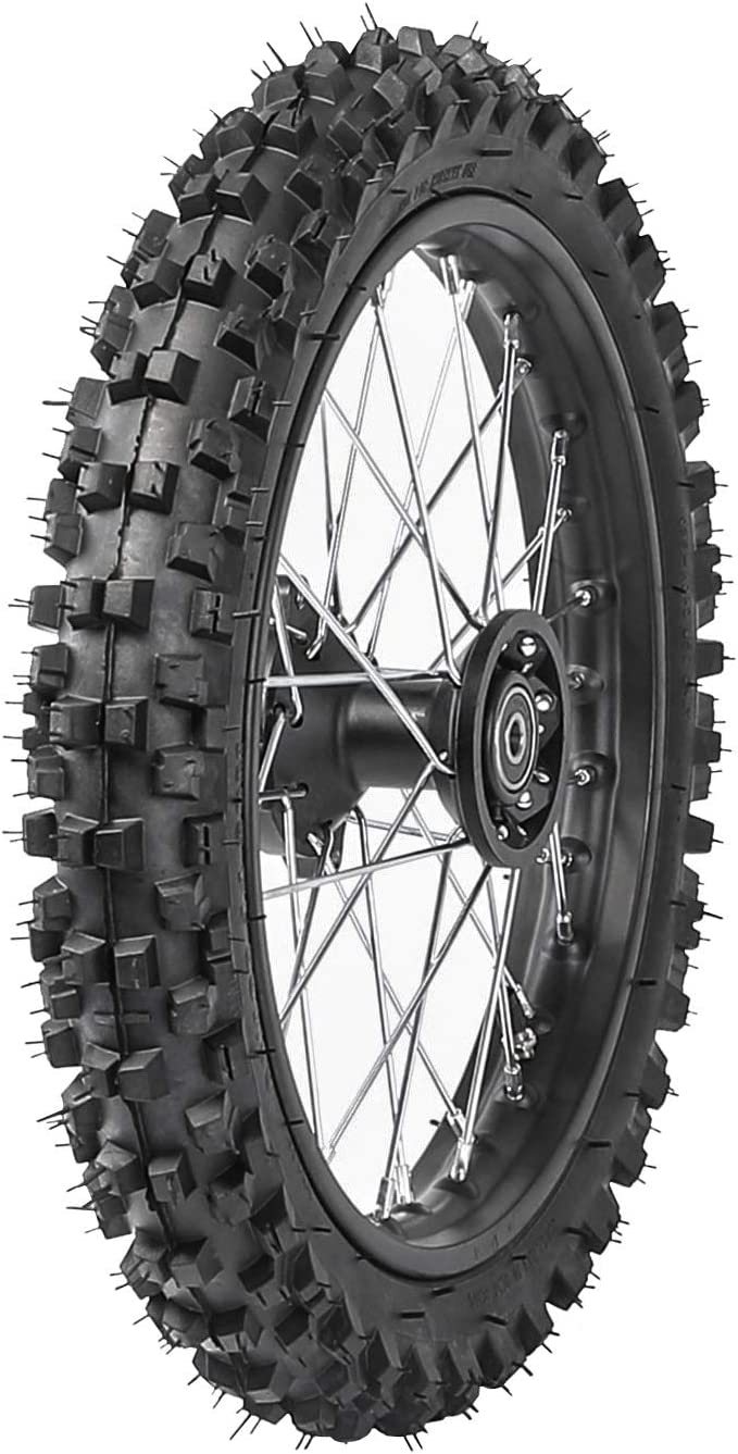 "Knobby Tyre Tire PIT PRO Trail Dirt Bike SILVER 2.50-10/"" Inch Front Wheel Rim"