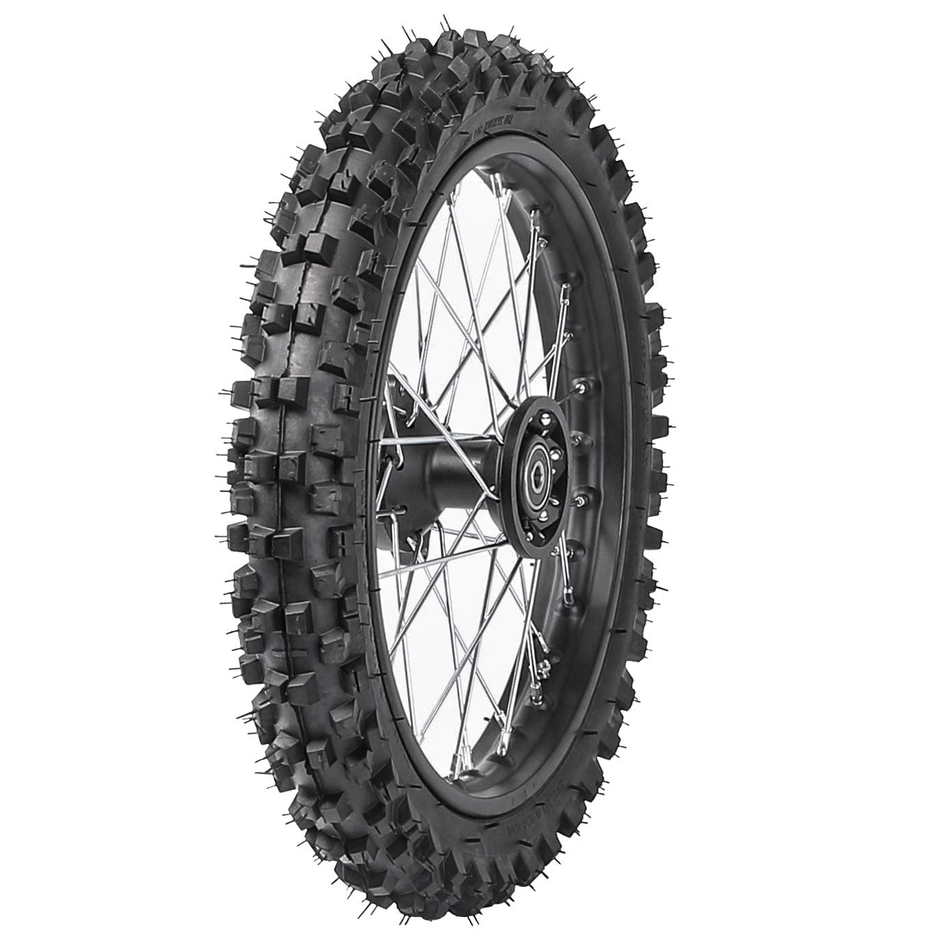 WPHMOTO Knobby Front Tire 60/100-14 Wheel Rim with 15mm Bearing for Dirt Pit Trail Bike