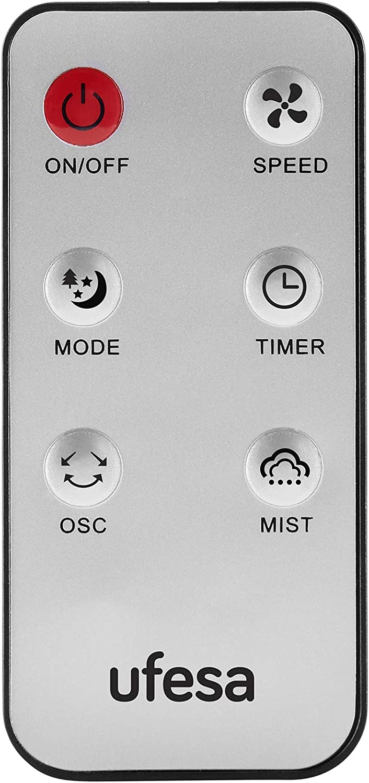 3 modos di/ámetro 40 cm Ufesa MF4090 Negro temporizador 7.30 h mando a distancia Ventilador nebulizador
