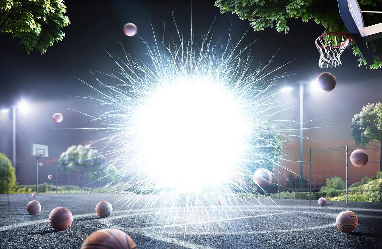 15x10フィート 抽象ストリートボールコート写真背景ライト フライングバスケットボール マジックスポーツ プレイグラウンド 夜の背景 写真スタジオ用   B07L5FVGCT