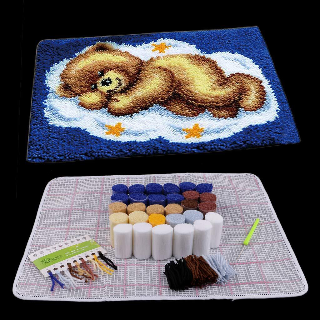 LoveinDIY 20x16 Bear Latch Hook Kit with Basic Tools Instruction for DIY Rug Cushion