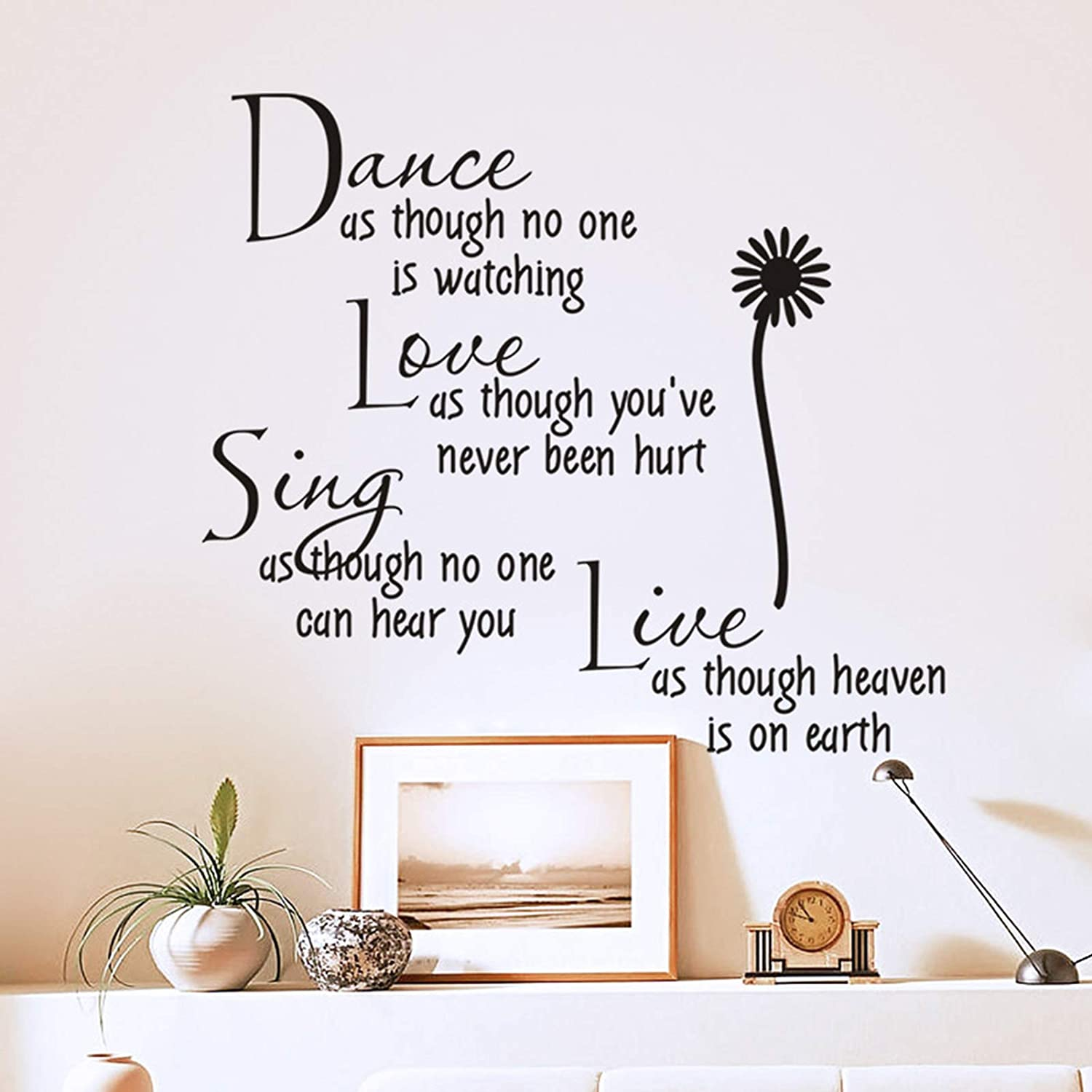 Daisy Wall Decor Sticker Words Quote Vinyl Decal, Removable Dance Love Sing Live Wall Inspirational Quotes, DIY Art Mural for Kitchen Women Bedroom Nursery Office Home Decoration(Black)