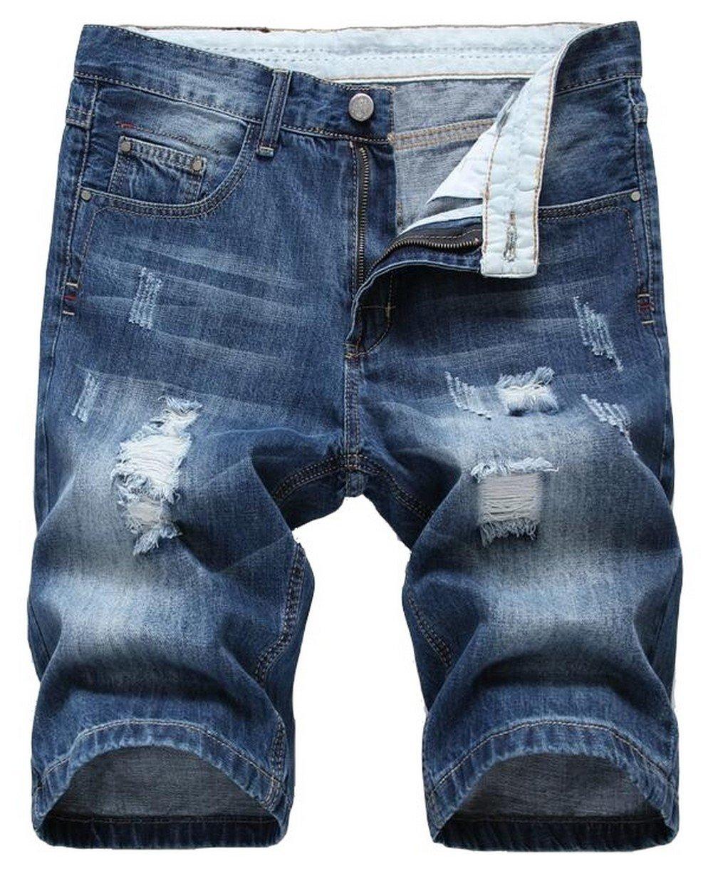 Jinmen Men's Regular Fit Ripped Distressed Straight Denim Short with Hole