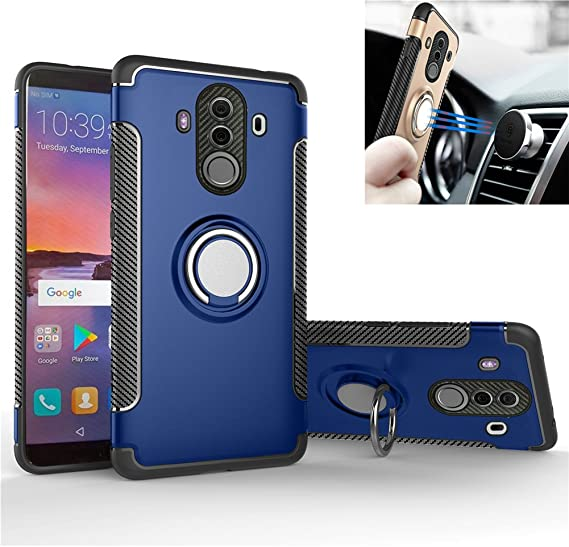 Huawei Mate 20 Case,360/° Rotating Ring Kickstand Protective Case,TPU+PC Shock Absorption Double Protection Cover Compatible with for Huawei Mate 20 Magnetic Car Mount Black//Rose Gold