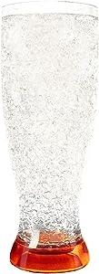 Crystal Freezer Pilsner| Double Wall Insulation for Cold Drinks, Orange, 16 Oz