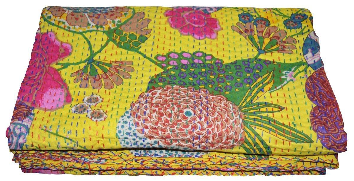 Indian Twin Gudri Handmade Quilt Vintage Tropican fruit print Kantha spread Throw Cotton Blanket (Multi) Sophia Art