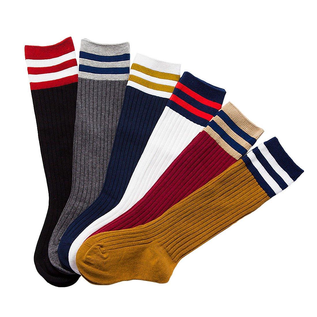 6 Pack Baby Girls Boys Toddler Kids Cotton Stripe Knee High Stockings Tube Football Socks (L(5~8T))