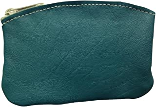 product image for North Star Men's Large Leather Zippered Coin Pouch Change Holder 5 X 3.5 X 0.25 Inches Teal