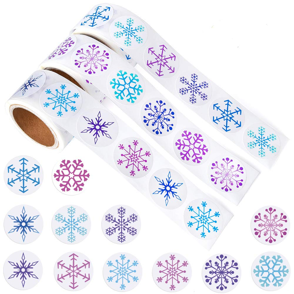 Kuuqa Etiquetas engomadas del copo de nieve de 450 pedazos Etiquetas engomadas de la Navidad para las fuentes del arte de la decoración de Navidad, 3 rollos KUUQA-Snowflake Stickers-01