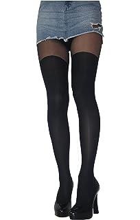 9b19161b5ae Black Thick Opaque Mock Suspender Tights Imitating Stockings