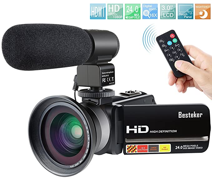 Review Camcorder,Besteker 1080P IR Night Vision Camcorders Full HD Portable Digital Video Camera with External Microphone and Wide Angle Lens