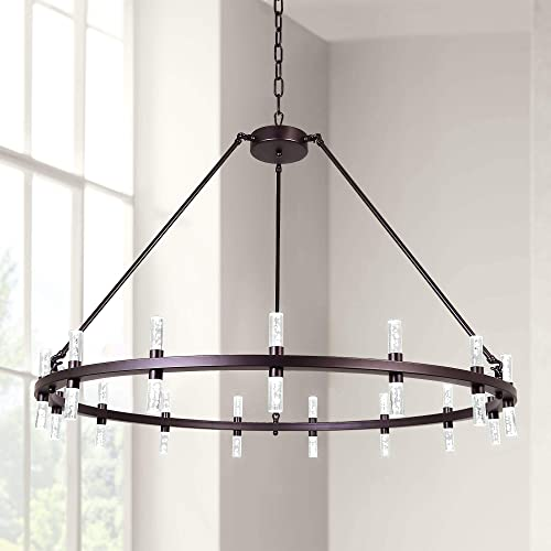 MEEROSEE Modern Chandelier LED Chandeliers Lighting Large D43.3 Acrylic Shade Oil Rubbed Bronze 30 Lights Round Farmhouse Dining Room Pendant Lighting Fixture for Island Kitchen Living Room Dimmable