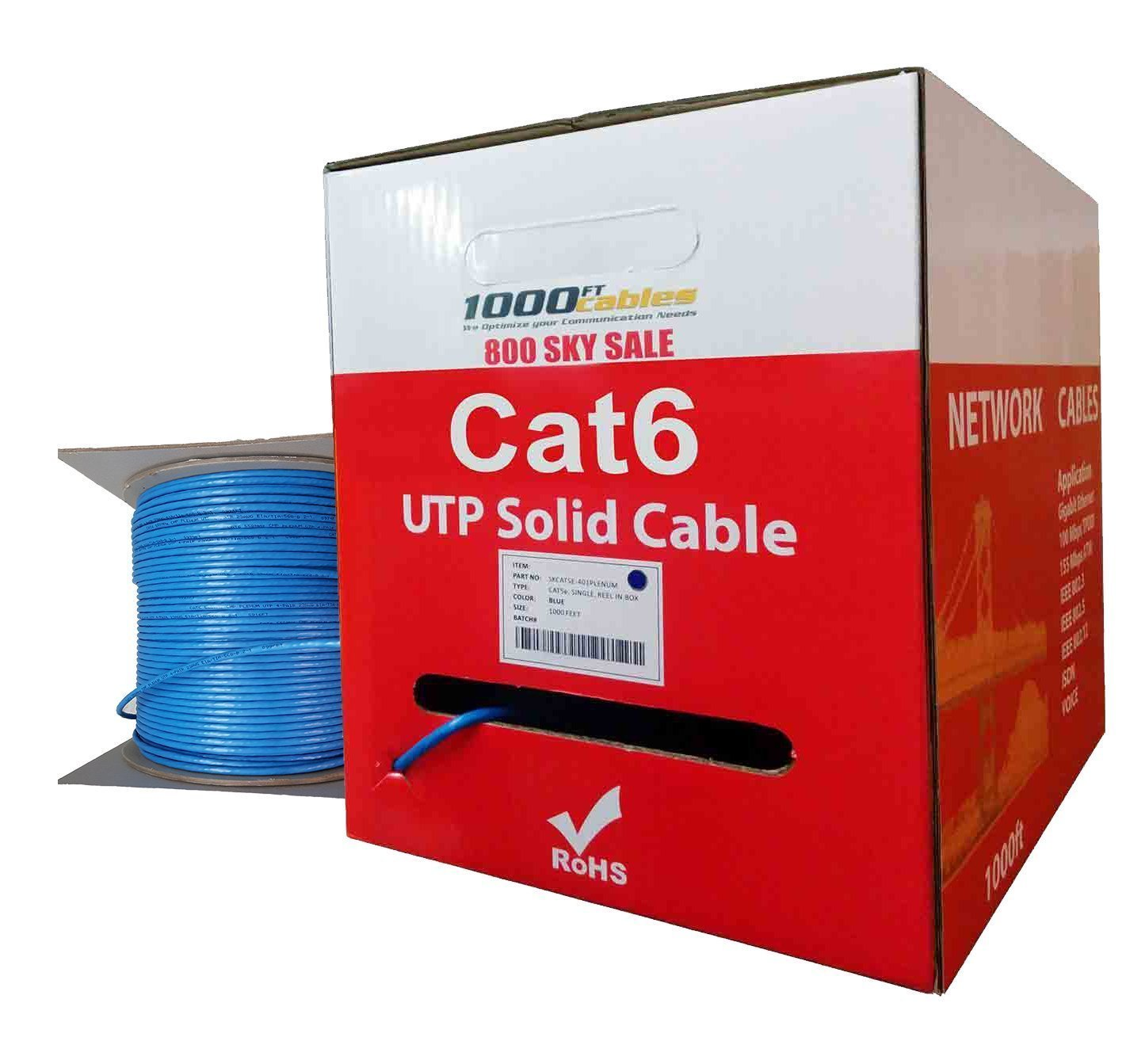 Cat6 Plenum CMP Rated 23AWG Utp Networking Cable Blue 1000 Feet 550MHz Solid Ethernet Unshielded Twisted Pair