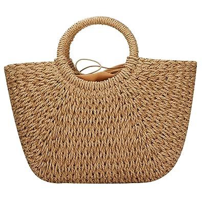 Amazon.com: Bolsas de paja para mujer, tejido a mano, bolsa ...