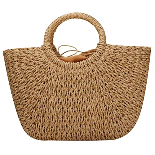 86fa60fabbd5 Straw Bags for Women,Hand-woven Straw Large Bag Round Handle Ring Tote  Retro Summer Beach Rattan bag