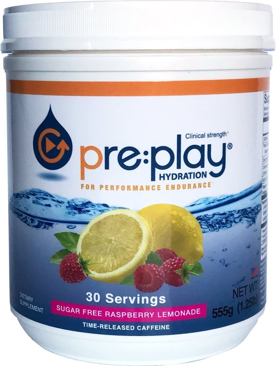 pre play Hydration and Energy Drink Powder, Raspberry Lemonade – 30 Serving Tub
