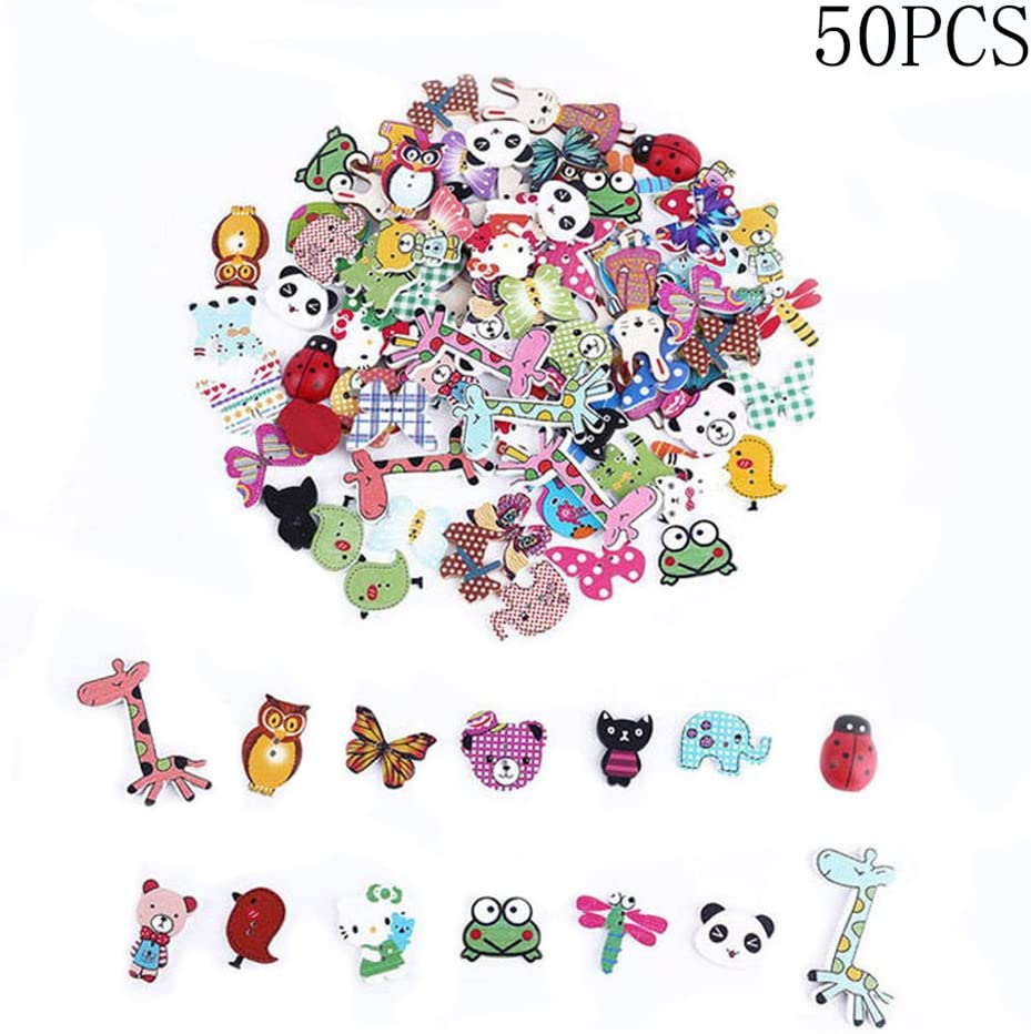 50pcs DIY Mixed 2 Holes Butterfly Shape Wooden Sewing Scrapbooking Buttons BR