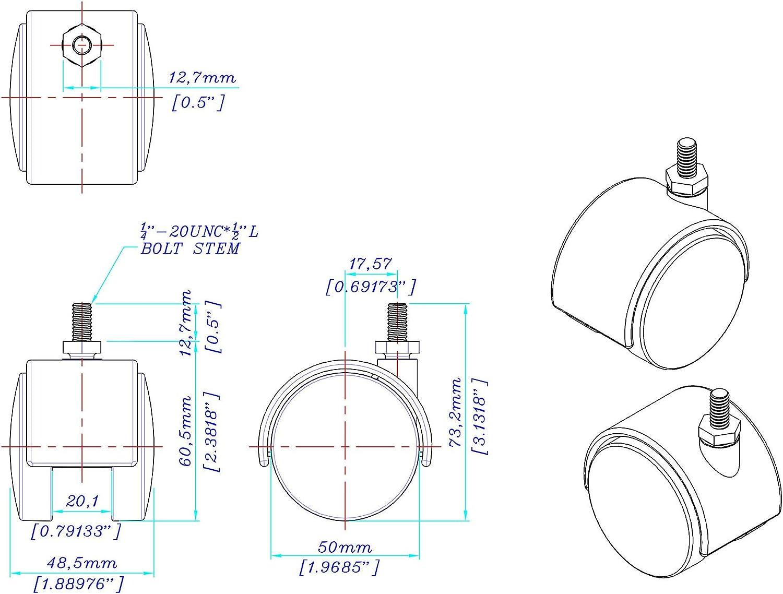 2 Wheel Diameter 4 Pack by Outwater 1//4-20 x 1//2 Threaded Stem Swivel Radius of 1-3//4 Black Nylon Swivel Hooded Samson Twin Wheel Caster