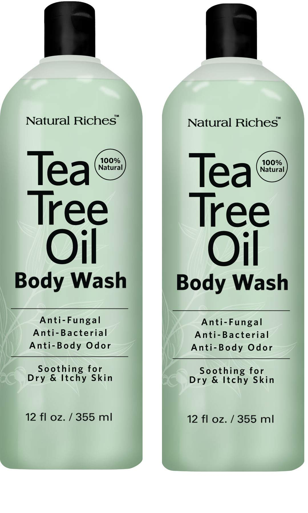 Antifungal TeaTree Oil Body Wash, Peppermint & Eucalyptus Oil Antibacterial Soap by Natural Riches -12 oz Helps Athletes Foot, Eczema, Ringworm, Toenail Fungus, Jock itch, Body Itch (2 pack)
