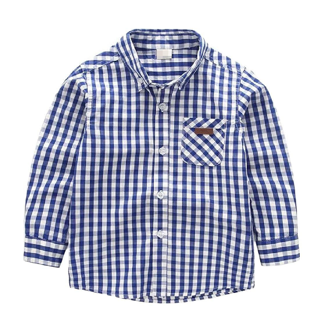 Joe Wenko Boys Checkered Casual Long Sleeve Button-Down Cute Lapel Shirts