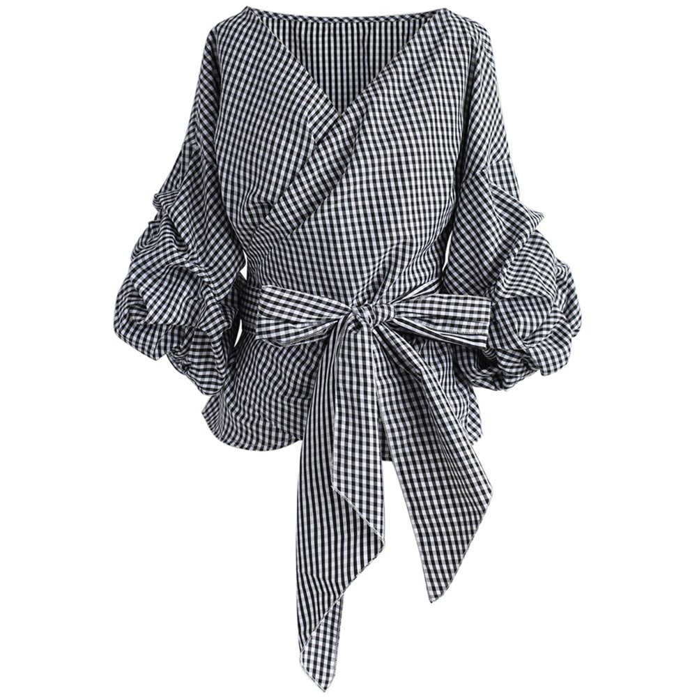 Chicwish Women's Black Gingham V Neck Bowknot Wrapped Shirt Blouse Top With Ruche Sleeves by Chicwish