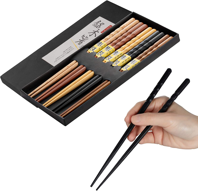 Chopsticks 5 Pairs Set of Chop Sticks Reusable Chopsticks Japanese Natural Wooden Chopsticks Hand-Carved Chopsticks Gift set 9 Inch