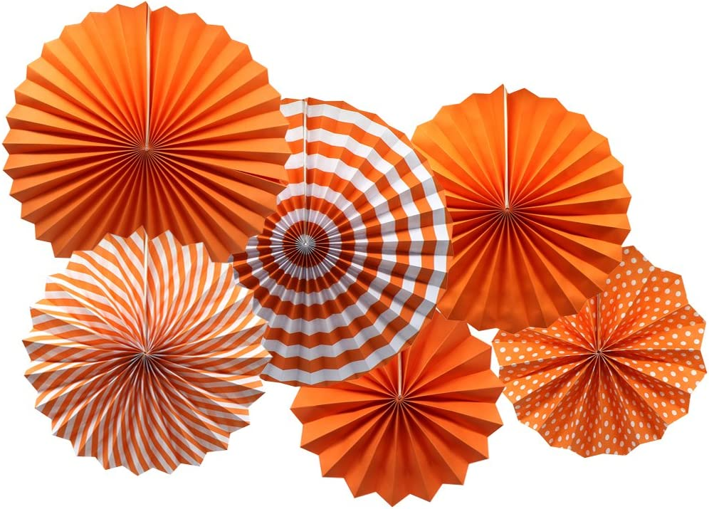 Party Hanging Paper Fans Set, Orange Round Pattern Paper Garlands Decoration for Birthday Wedding Graduation Events Accessories, Set of 6