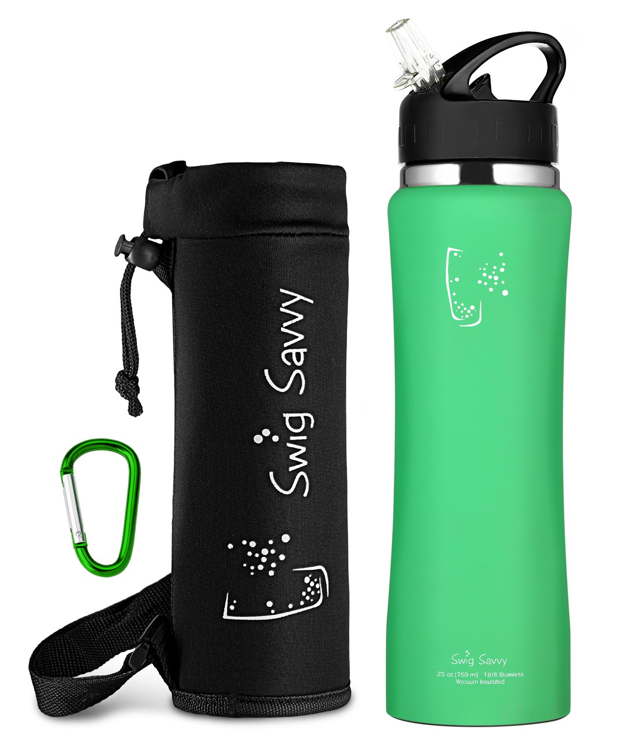 Swig Savvy Stainless Steel Insulated Leak Proof Flip Top Straw Cap Water Bottles with Pouch & Clip, Aqua Fresh, 24oz