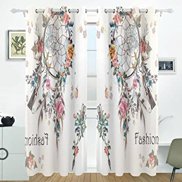 COOSUN Dreamcatcher And Flowers Design Blackout Curtains Darkening Thermal Insulated Polyester Grommet Top Blind Curtain For