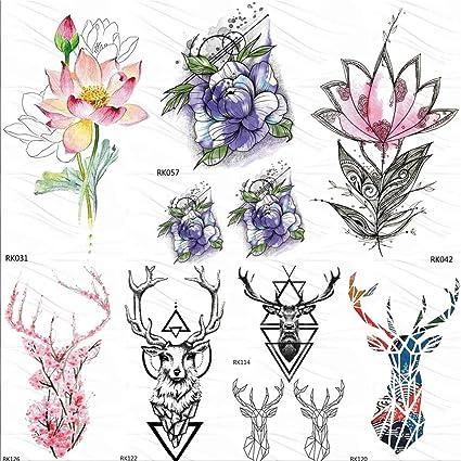 Etiqueta Engomada Del Tatuaje Temporal Sleeves Realista Lotus ...