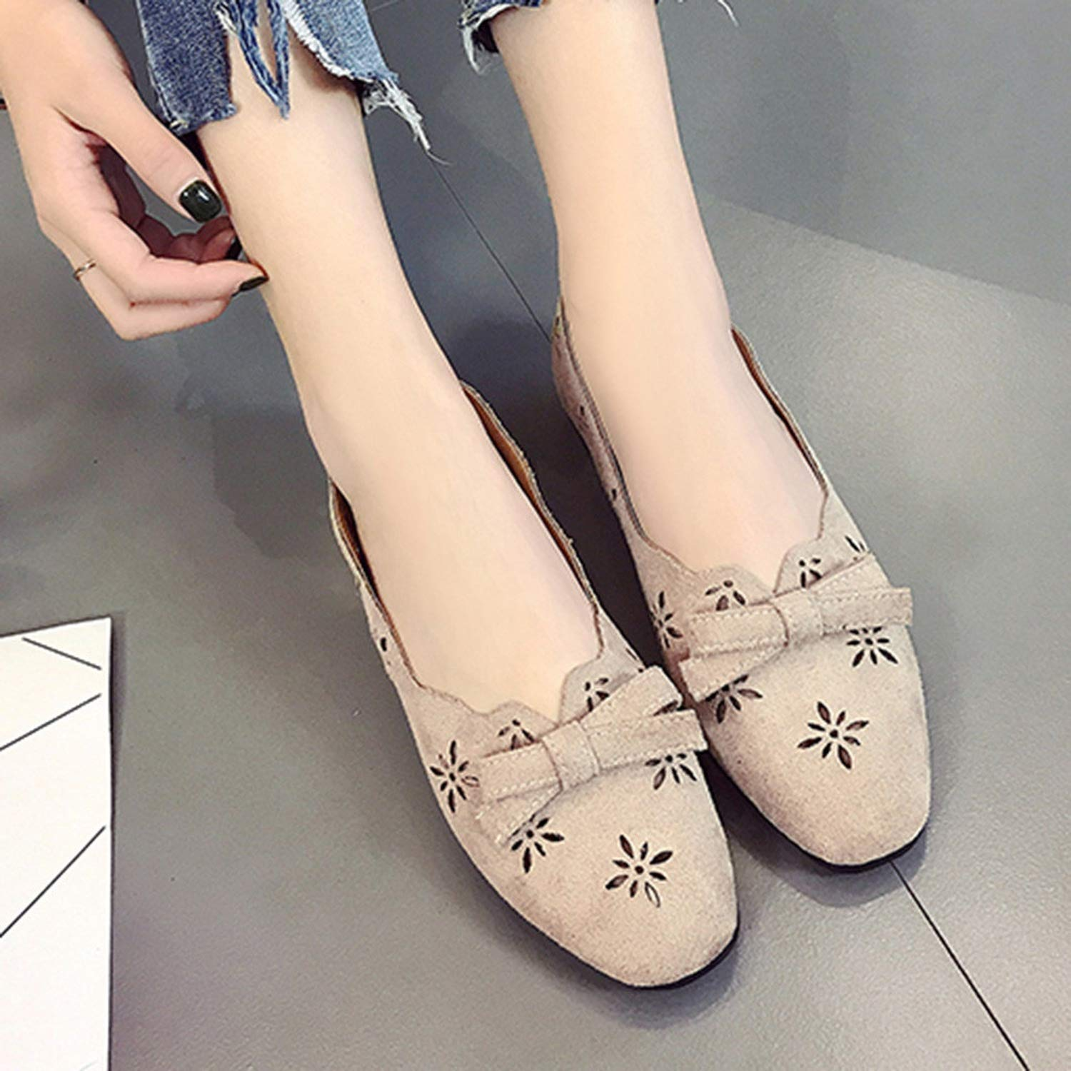 Flat Shoes Women 2019 Bow Hollow Out Ladies Boat Shoes Green Solid Casual Flat Shoes